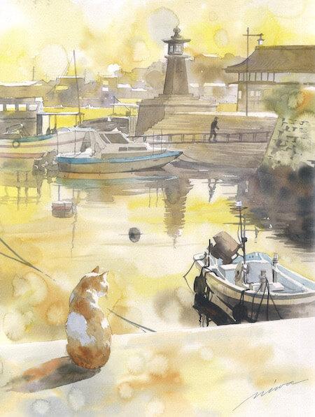 青木美和さんの透明水彩画作品、港で佇む猫の後ろ姿