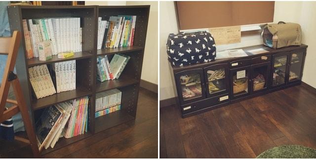 本棚&雑貨販売コーナー by キジトラ専門猫のカフェ「cat cafe しましま屋」