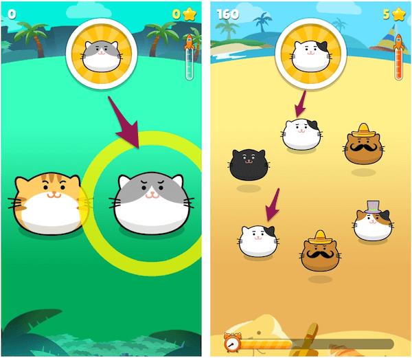 ゲームアプリ・ニャンタップの画面イメージ