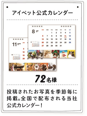 ワン!にゃん!カレンダー2018の賞品、アイペット公式カレンダー