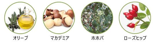 オリーブ、マカデミア、ホホバ、ローズヒップを配合 by ぷにぷに猫の手ファンデ