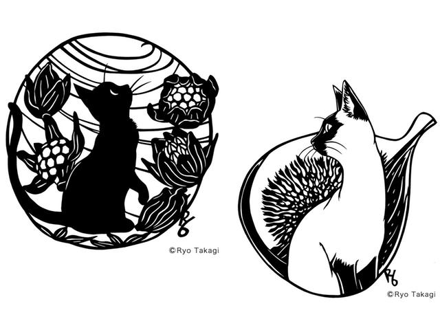 かわいい猫の切り絵が満載、きりえや高木亮氏の個展が吉祥寺で開催