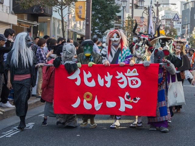猫の仮装をして神楽坂を練り歩く「化け猫フェスティバル」