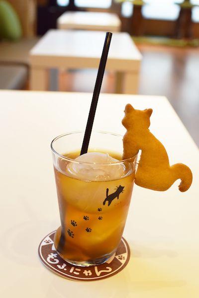 短足ネコ専門「猫カフェもふにゃん」のドリンクメニュー、猫クッキー付きのアップルティー