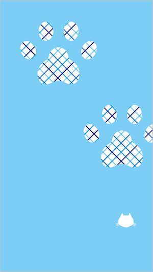 しゅうニャン市、猫のスマートフォン用壁紙5(猫の肉球シルエット)