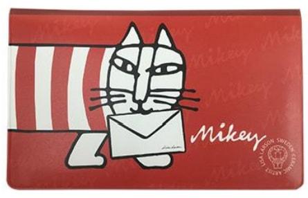 猫キャラ「マイキー」の通帳ケース(表) by リサ・ラーソン×郵便局
