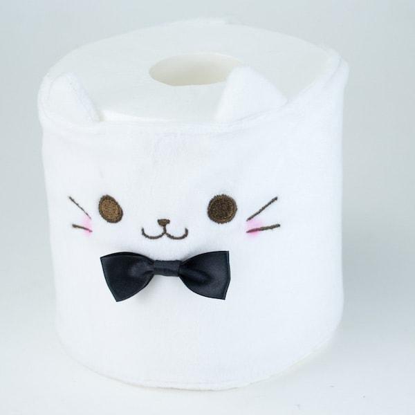 カプセルトイの猫トイレットペーパーカバー、ホワイト(巻くタイプ)