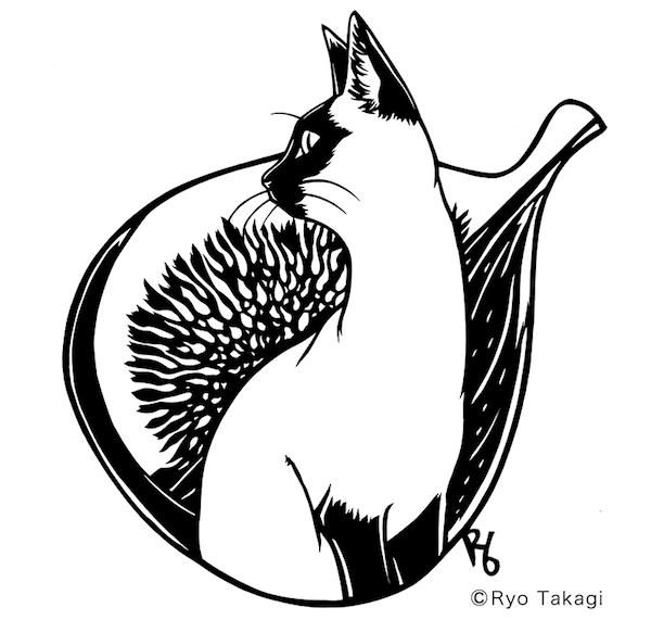 きりえ作家・高木亮さんの展示猫作品3「ねこペティ・いちじく」(2017)