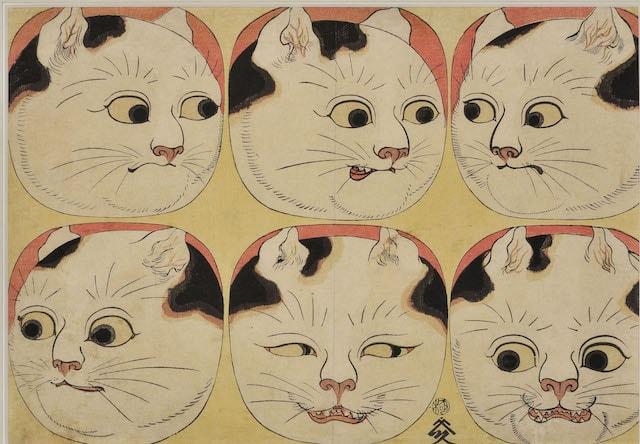歌川国芳「猫の百面相」1840年代
