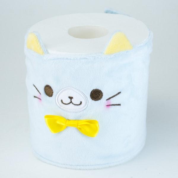 カプセルトイの猫トイレットペーパーカバー、水色(巻くタイプ)