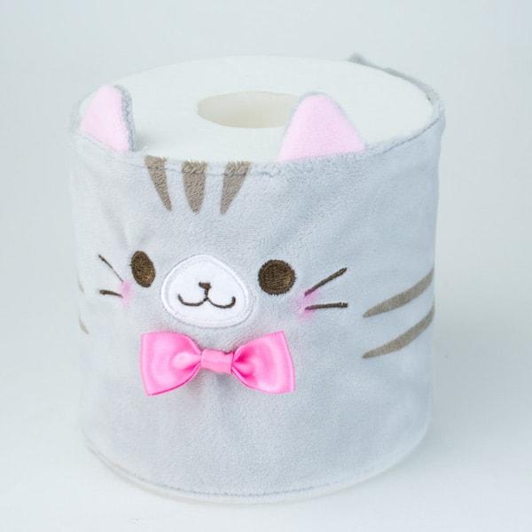 カプセルトイの猫トイレットペーパーカバー、グレー(巻くタイプ)