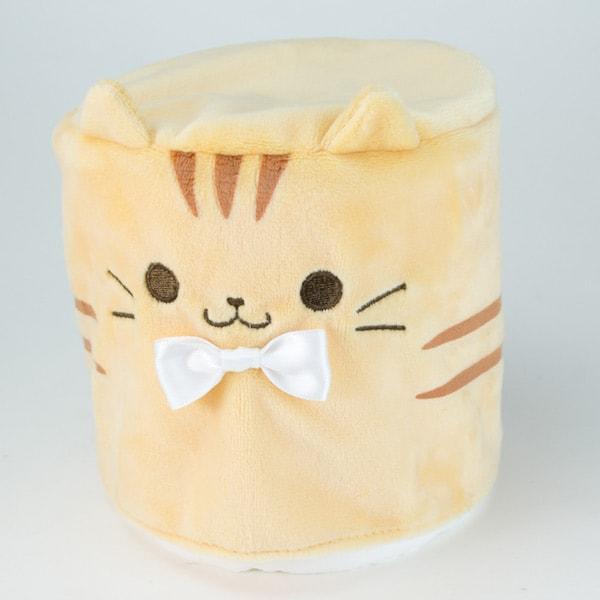 カプセルトイの猫トイレットペーパーカバー、茶トラ(かぶせるタイプ)