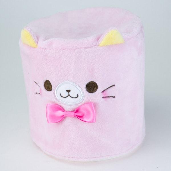 カプセルトイの猫トイレットペーパーカバー、ピンク(かぶせるタイプ)
