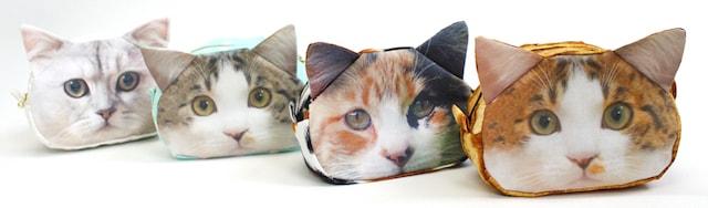 プリントファブリックに愛猫の写真を印刷して作ったリアル猫ポーチ