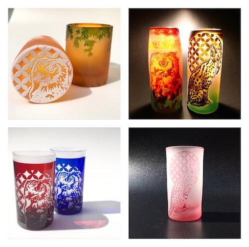 ガラス工芸家・可夜のグラス作品4種