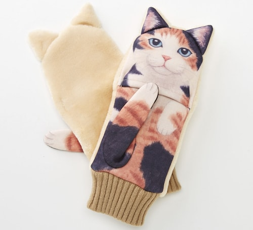 ジャマ猫手袋、「三毛猫」デザイン
