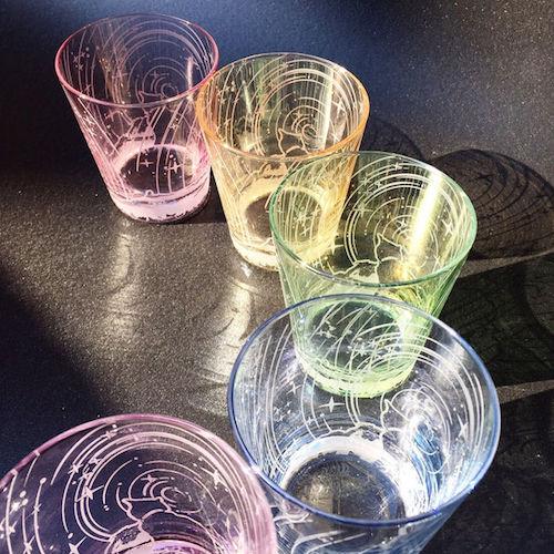 グラス作品「星詠み猫/シャボングラス」 by ガラス工芸家・可夜