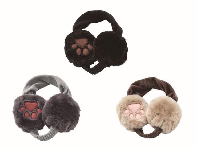 猫デザインのイヤーマフ3種、黒猫、ロシアンブルー、白靴下のキジ猫