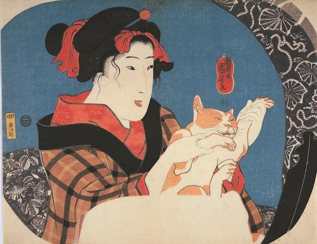 歌川国芳の浮世絵作品「鏡面シリーズ 猫と遊ぶ娘」