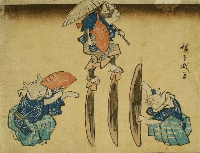 猫の浮世絵「流行猫のおも入」by 歌川国芳