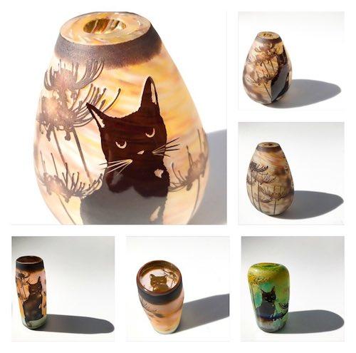 猫デザインのお香立て by ガラス工芸家・可夜