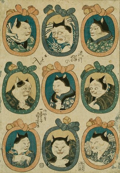 猫の浮世絵「にゃん喰渡り」by 歌川広重