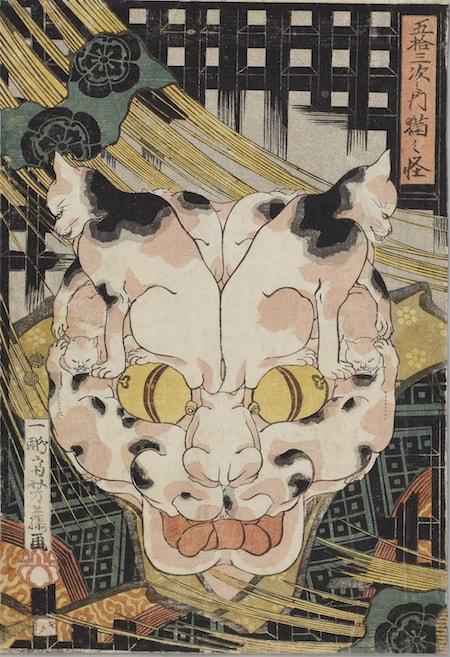 歌川芳藤の浮世絵作品「五拾三次之内猫之怪」