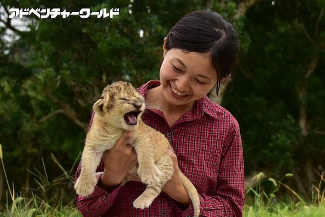 ライオンの赤ちゃんを抱っこして記念撮影
