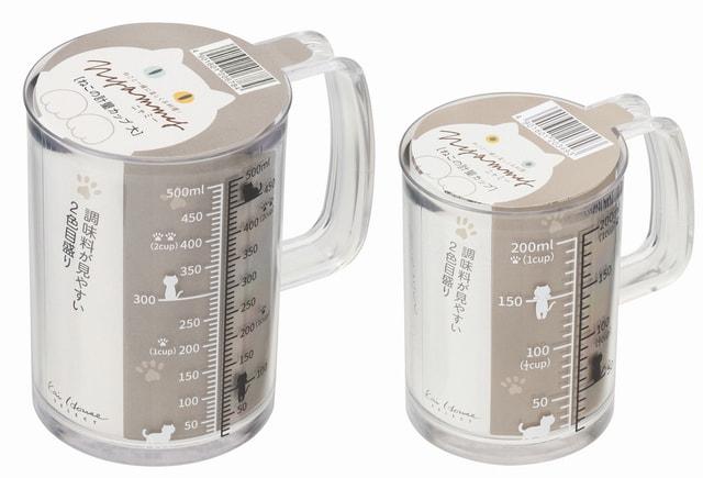 貝印の猫型キッチンアイテムNyammy(ニャミー)第2弾、ねこの計量カップ(200ml/500ml)