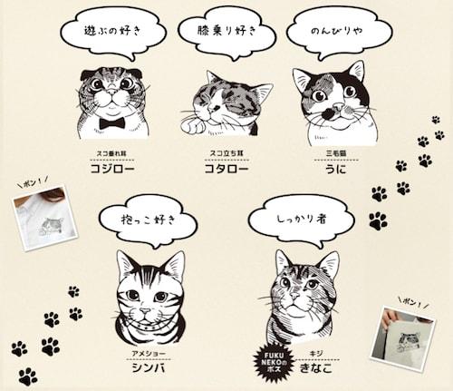 服をリメイクできるスタンプの猫イラストは5種類