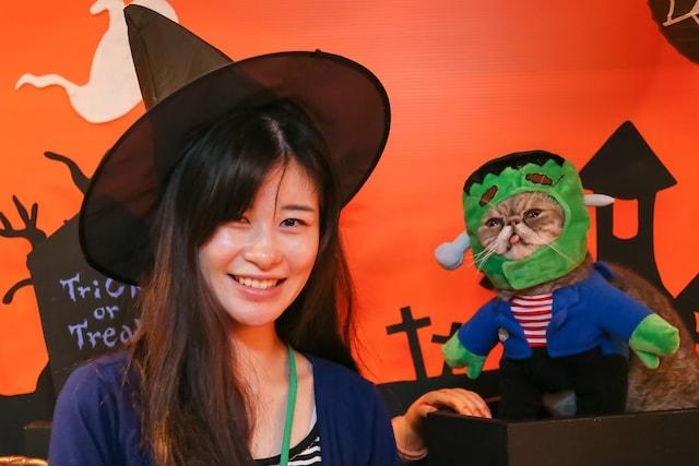猫カフェ猫家大宮店でハロウィンコスプレをして記念撮影