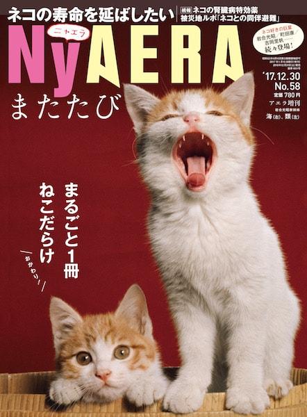 NyAERAまたたびの表紙、岩合光昭さんの〝長女〟海(かい)ちゃんと、姉妹ネコの類(るい)ちゃん