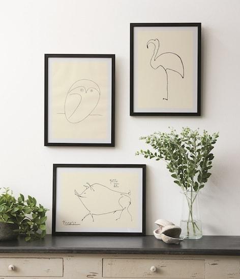 フレーム入り、ピカソの動物アートシリーズ