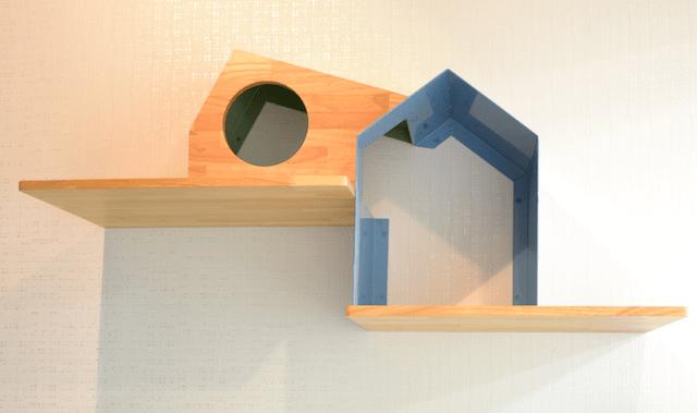 キャットシェルフ「House」のカラー、パステルブルー