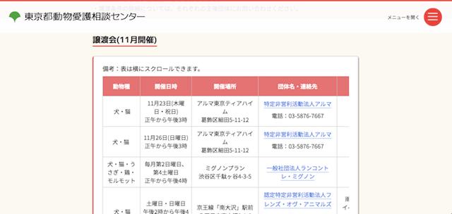 ワンニャンとうきょうのサイトに掲載されている、東京都譲渡対象団体の開催する譲渡会の日程