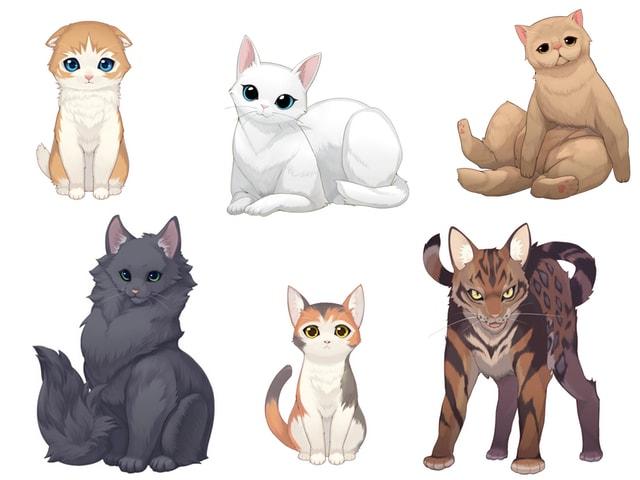 パズルゲーム「ねこ島日記」に登場する様々な猫キャラクターたち