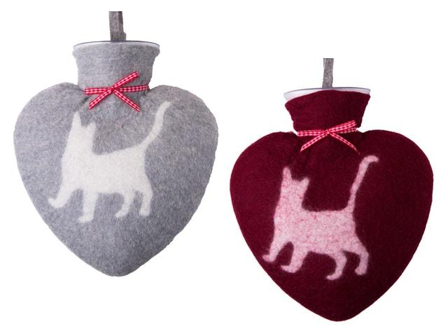 寒い日にぽかぽか温まるニャ♪ ハート型×猫デザインの湯たんぽ