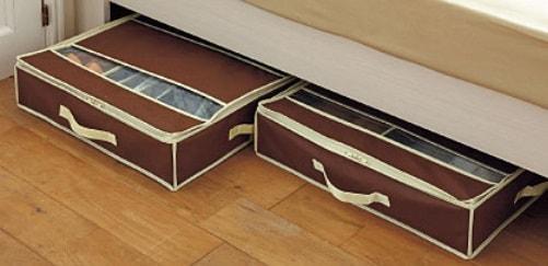 ベッドの下にも置けるシューズ収納ボックス