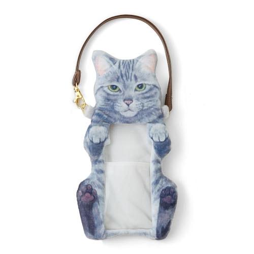 猫のヘソ天が触れるスマホポーチ(正面)