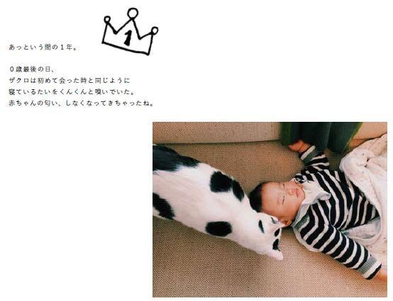 猫の「ザクロ」と人間の赤ちゃん「たい」
