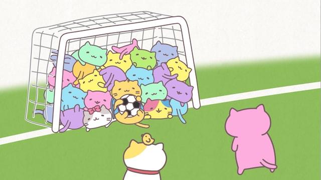 サッカーゴールに集まるみっちりねこ