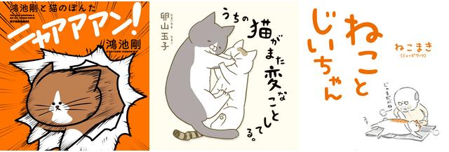 猫マンガ「鴻池剛と猫のぽんた ニャアアアン!」「うちの猫がまた変なことしてる。」「ねことじいちゃん」