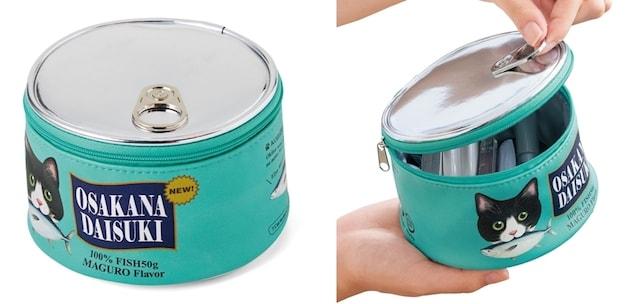 フタがメタリック素材のリアルな猫缶ポーチ