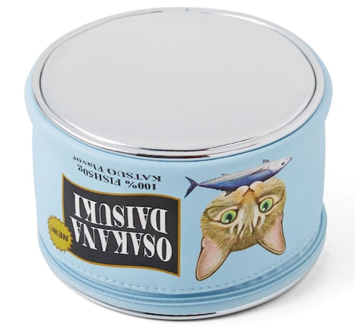 底もメタリック素材の猫缶ポーチ