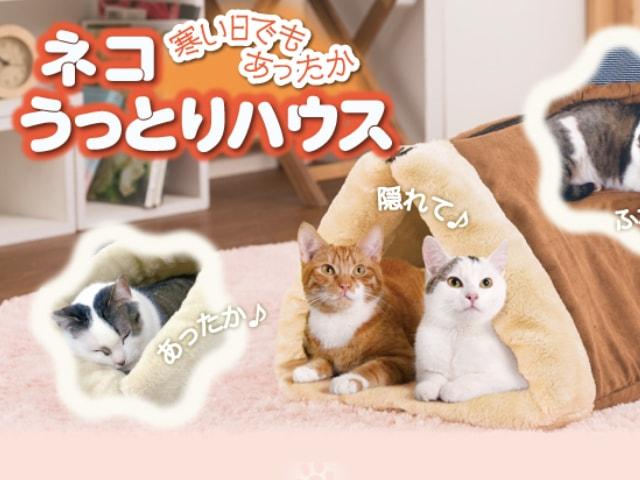 クッションやベッドにもなる3WAY猫ハウス「ネコうっとりハウス」