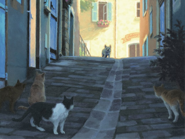 光の情景画家、笹倉鉄平氏の「犬が好き・猫が好き」展が4/9まで開催中