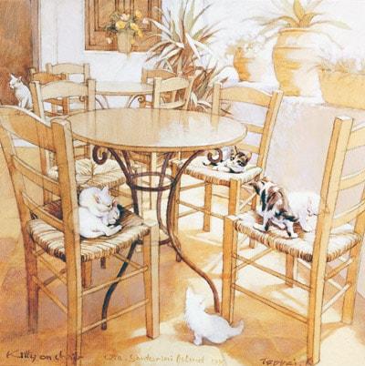 笹倉鉄平作さんの絵画作品「キティ・オン・チェア」