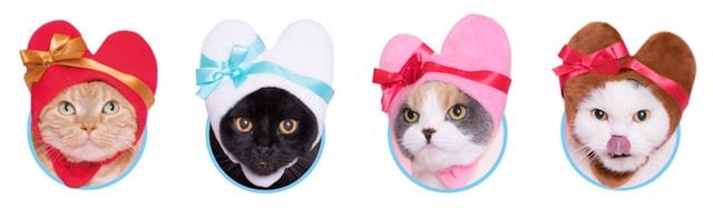 猫がハートに変身できるかぶりもの、全4種