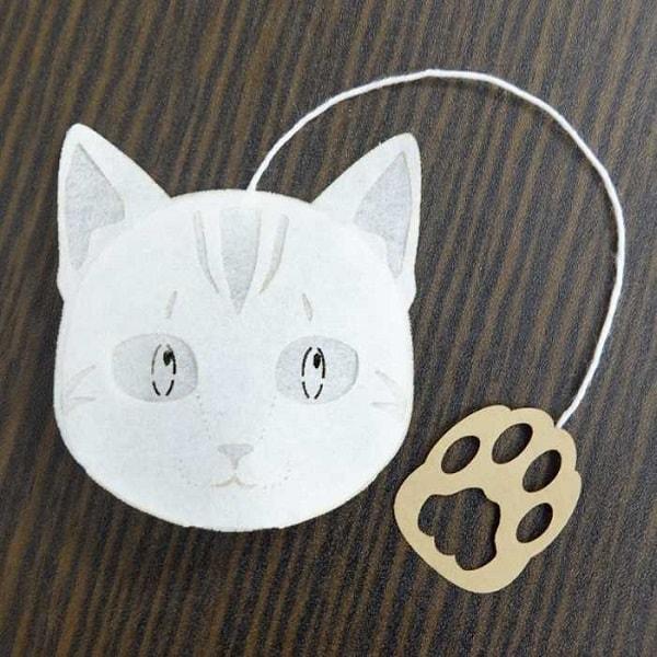 猫のアメショをモチーフにしたティーバッグ(プーアル茶)