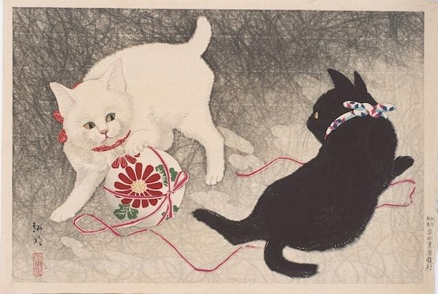 猫の絵画・高橋弘明「毬と遊ぶ白猫、黒猫」
